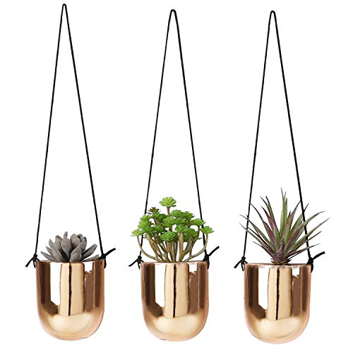 Metallic Copper-Tone Ceramic 4 Inch Hanging Succulent Planters, Set of ()