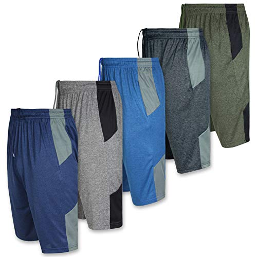 Mens Dry Fit Active Athletic Performance Basketball Tennis Soccer Running Essentials Gym Workout Tech Shorts-Set 7-5 Pack, ()