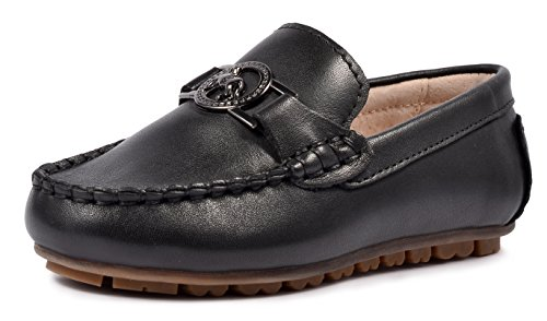 LIYZU Boy's Leather Distressed Loafers Dress Oxford Shoes (Toddler/Little Kid/Big Kid) US Size 9 Black (Kids Distressed Leather)