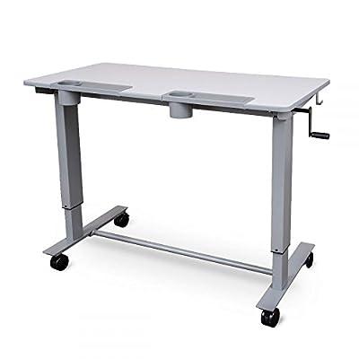 Luxor Height Adjustable 2 Student Standing Desk with Crank Handle - Gray Desktop/Gray Frame
