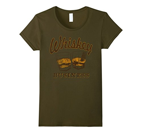 Womens Whiskey Business Shot Glasses Vintage Retro Graphic T-Shirt Large Olive - Green Vintage Tee
