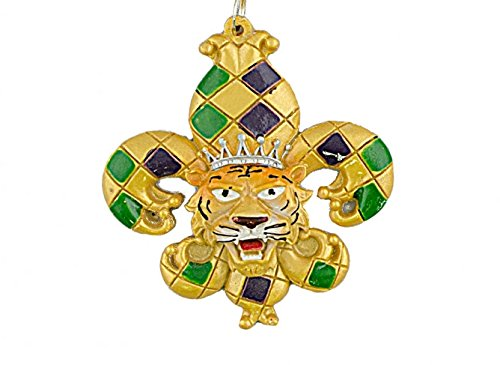 Harlequin Hand Painted Mardi Gras King Tiger Fleur De Lis LSU Tigers Holiday Christmas Tree Ornament Free Gold Gift Pouch Purple Green Gold