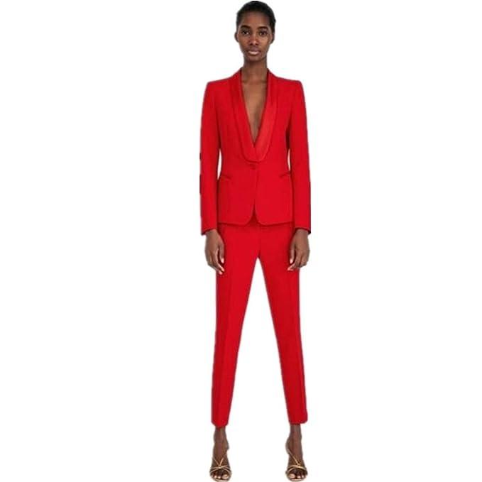 Amazon.com: Traje de mujer rojo para pantalón de 2 piezas ...