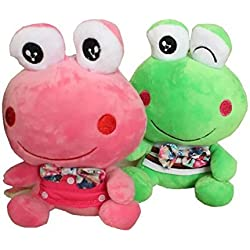 "2 Packs 8""Smiley Fairy Tale Frog Prince Plush Toys Stuffed Animal Baby Pillow For Wedding Birthday Gift,Valentine's Day"