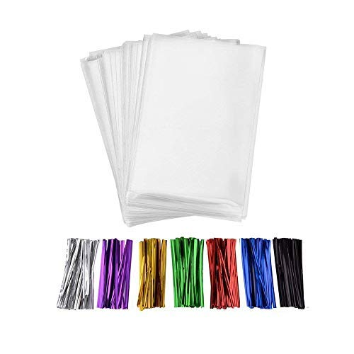 MoloTAR 200 Pcs 10 in x 6 in(1.4mil.) Clear Flat Cello Cellophane Treat Bags Good for Bakery, Cookies, Candies,Dessert with five random color Twist Ties! 6