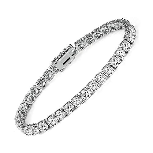 MDFUN 14k White Gold Plated Cubic Zirconia Tennis Bracelet for Women (4mm) from MDFUN