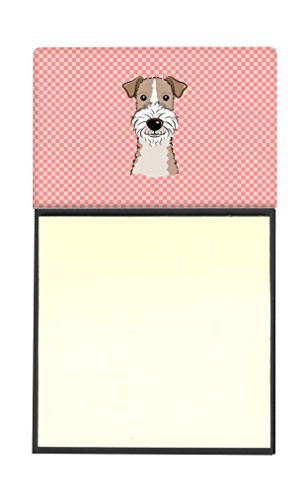 Caroline's Treasures Checkerboard Pink Wire Haired Fox Terrier Refillable Sticky Note Holder or Postit Note Dispenser, 3.25 by 5.5