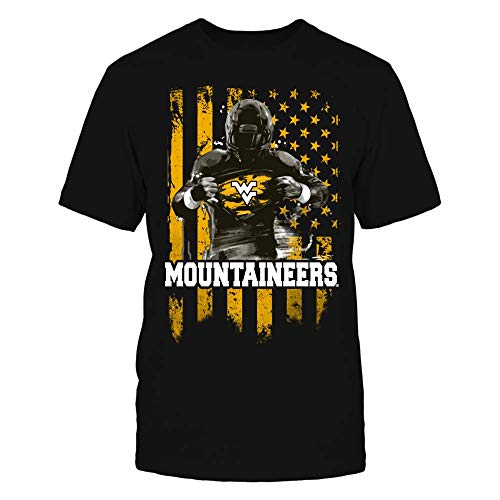 (FanPrint West Virginia Mountaineers T-Shirt - Player Flag - West Virginia Mountineers - Men's Tee/Black/XL)