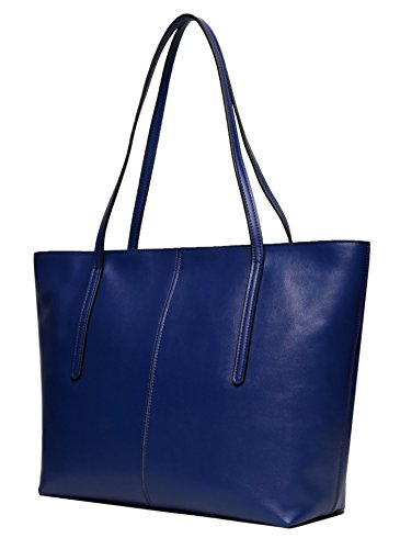 (Obosoyo Women's Handbag Genuine Leather Tote Shoulder Bags Soft Hot Blue)