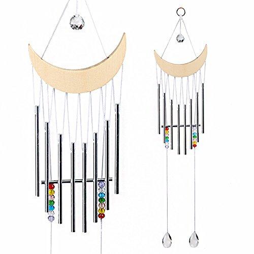 de Wood Half-Moon Wind Chimes With Tubes Rainbow Chakra Ball Prisms Pendants Outdoor Yard Hanging Dream Catcher Decor ()