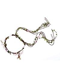 Flower Vine Crown Garland Headband Boho for Festival Wedding Prom (B) (pink)