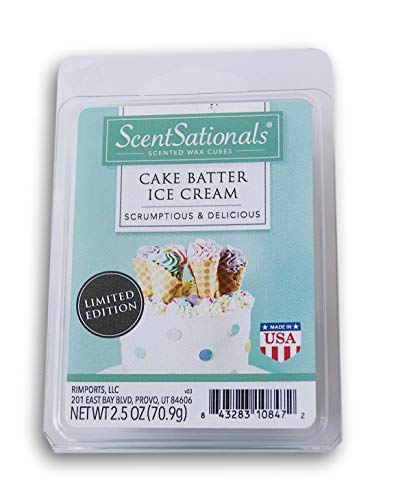 ScentSationals Cake Batter Ice Cream Wax Cubes - 2019 Limited Edition (Best Cake Batter Ice Cream)