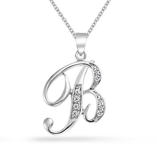 Abc Cubic Zirconia Pave CZ Cursive Script Letter Alphabet Initial B Pendant Necklace For Women Sterling Silver