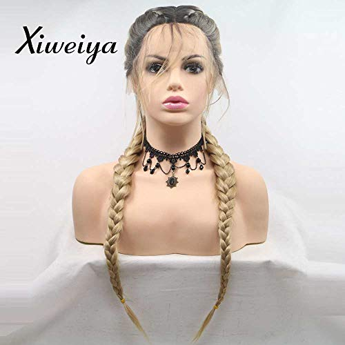 Xiweiya blonde with brown root Double Braids Synthetic Braided Lace Front Wig add Human Weaving Part with Baby Hair Wig Heat Resistant Fiber Middle Part 24 inch (Add Weaving Part)