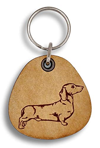 ForLeatherMore - Smooth Haired Dachshund - Genuine Leather Keychain - Pet Key Fobs