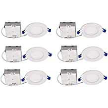 """Topaz Lighting (Pack of 6) 77229 9W Slim 4"""" Dimmable Recessed Ceiling Downlight, 3000K, White, Easy to Install, Save Time and Money, Energy Efficient LED Lighting"""