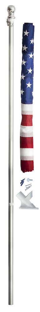 Valley Forge Flag 2.5' x 4' Nylon American Flag Kit with 5-Foot Aluminum Spinning Pole and Bracket by Valley Forge