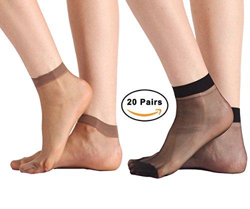 3dfe4f920 20 Pairs Women's Nylon Ankle High Sheer Socks Lucky Commercer Low Cut Dress  Socks