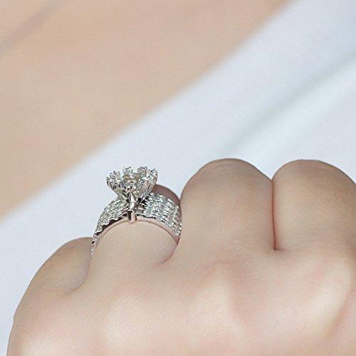 Gowe 14mm Big massif 14K 585Or blanc 2carat fiançailles de pas moins de GH Lab Cultivées Charles De Bague Diamant pour mariage