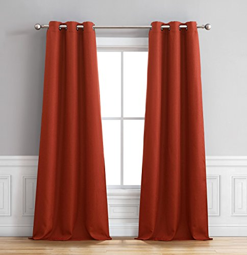 Bella Luna Henley Faux Linen Room Darkening 76 x 84 in. Grommet Curtain Panel Pair, Chili (Indigo Ideas Bedroom)