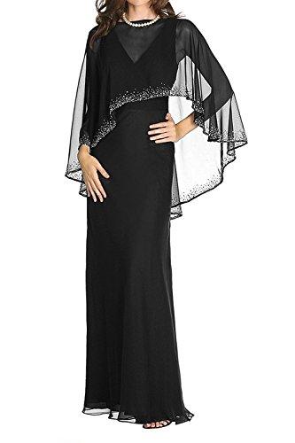 Brautmutterkleider Schwarz Figurbetont Langes Etuikleider Braut mia Partykleider Elegant Abendkleider Festlichkleider Chiffon La W7YPq4wfx