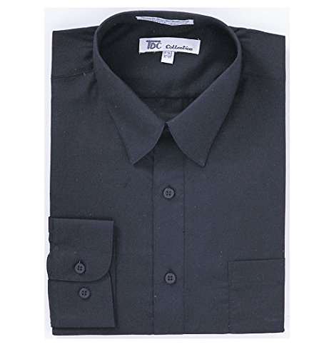 TDC Collection Men's Cotton Blend Banded Collar Dress Shirt SG01-Black-17-17 1/2 -36-37