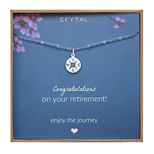 EFYTAL Retirement Gifts for Women, Sterling Silver Compass Necklace, Jewelry Gift for Her, for Coworker, Teacher