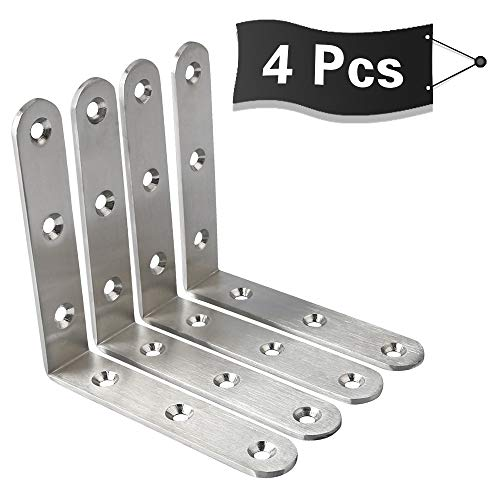 Bracket Corner Nickel - Alise 4 Pcs Stainless Steel Brackets Floating Shelves Heavy Duty Shelf Bracket Corner Brace Support Wall Hanging 100x100mm,JM100-4P Brushed Nickel