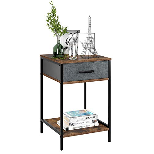 HOMFA Nightstand, 2-Tier End Table Side Table with Drawer, Shelf Dresser Storage Organizer and Open Shelf, Accent Table…