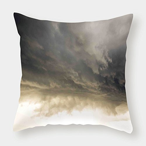 - Cotton Linen Throw Pillow Cushion Cover,Clouds,Heavy Storm Clouds in Dark Sky Hurricane Weather Cloudscape Mass of Liquid Droplets Image,Grey,Decorative Square Accent Pillow Case