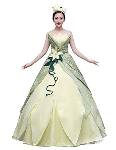 Tiana Costume for Women, Deluxe Frog Princess Cosplay Dress Hand Sewing Leaf Design (Medium) Green]()