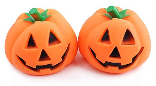 MarePet Halloween 2Pcs Pumpkin Shape Playing Toys Squeaky Plush Toy Funny Sounds Doll Training Toy Round Chew Toy