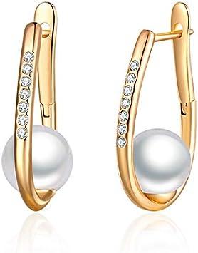NOBRAND Pendientes Mujer Simple Blanco Pendientes De Perlas Naturales Oro Plata Zirconia Pendientes con Perlas para Mujeres Joyería Fina Regalos para Niñas