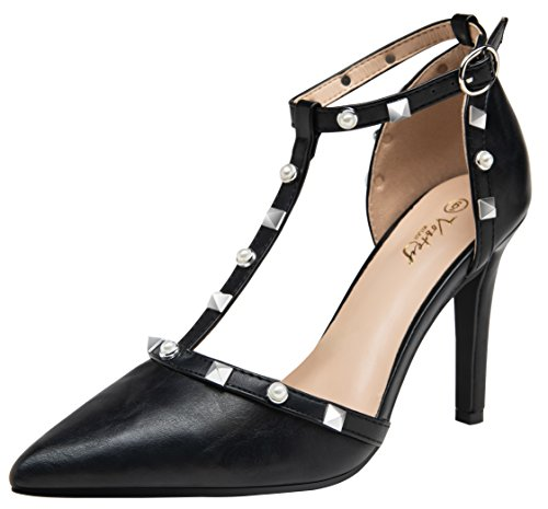 VOSTEY Women Pumps Rivet High Heels T-Strap Pumps for Women (Black Pu 8.5) ()