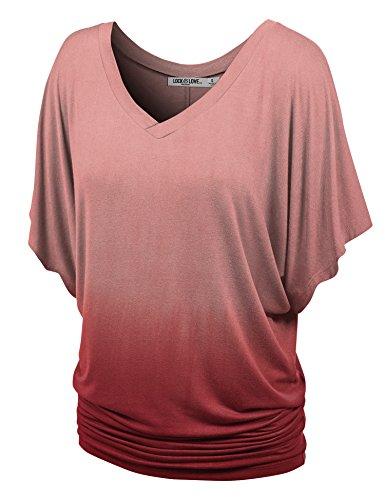 - WT1117 Womens V Neck Short Sleeve Ombre Drape Dolman Top XL WINE