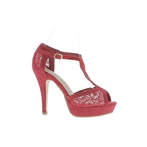 11,5 cm de aguja de diamantes de imitación de zapatos mujer tacón rojo