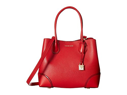 Michael Kors Mercer Gallery Medium Center Zip Leather Tote Satchel (Medium, Bright Red)