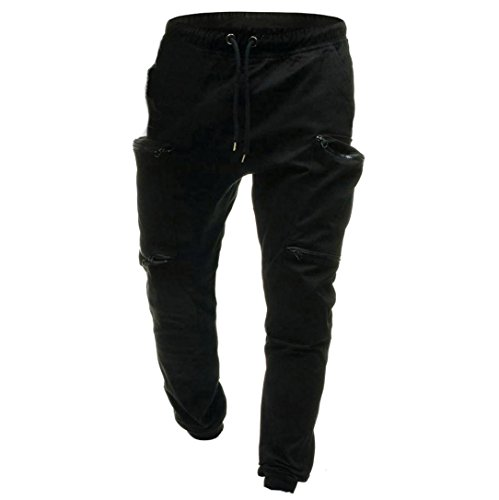 Realdo Men's Solid Casual Pants, Fashion Elastic Waist Drawstring Zipper Pockets Cargo Pants(Black,XX-Large) by Realdo (Image #1)