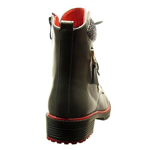 Schuhe Reißverschluss Blockabsatz Strass Angkorly Grau Damen 3 Metallisch Biker 5 Stiefeletten cm gqwBa5H