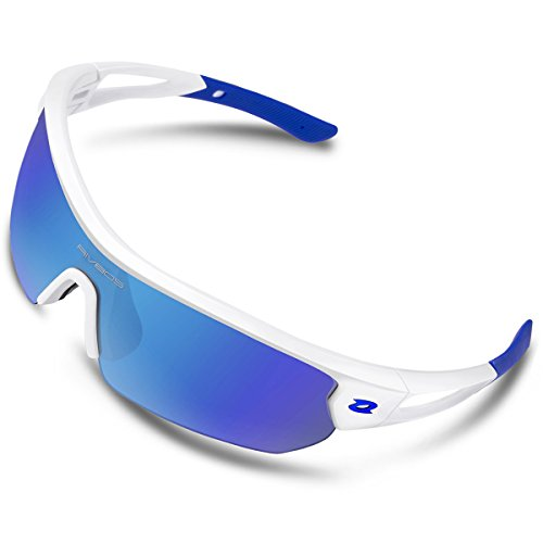 fa049252e8 RIVBOS Polarized Sports Sunglasses Sun Glasses with 4 Interchangeable Lenses  for Men Women Baseball Cycling Running TR90 Frame RB832 (White Blue Ice  Blue ...