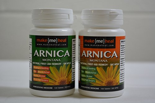 MakeMeHeal Pre & Post-Injury/Surgery Arnica Montana Swelling & Bruising First-Aid Remedy Kit (2 Bottles | 1M & 30 C Strengths)