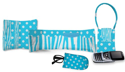 Daisy Kingdom Easy Cut and Sew Accessory Kit, Turquoise Zebra Stripe (Fabric Quilted Face Cotton Single)