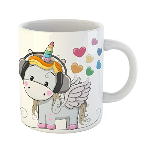 Emvency 11 Ounces Coffee Mug Birthday Cute Cartoon Unicorn Headphones and Hearts Animals Fairytale Happy Baby Birth White Ceramic Glossy Tea Cup -