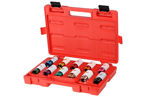 Chicago Pneumatic SS4211WP 1/2 in. Drive 11 Piece SAE/Metric Impact Socket Set - Lug Nut with Laser Etch Numbers. Tire Repair Tools