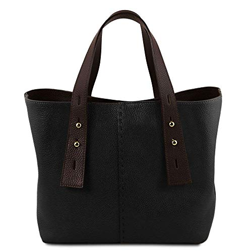 Cuir Bag tl141730 Leather Tuscany Shopping Tl En Sac Noir qPWBU6F e215f55048f3