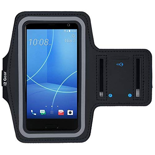 i2 Gear Cell Phone Armband for Running - Workout Phone Holder with Adjustable Strap, Reflective Edge - Arm Band Case for HTC U11 Life, HTC One M8 M9, HTC 10 and Desire 626 (Black)