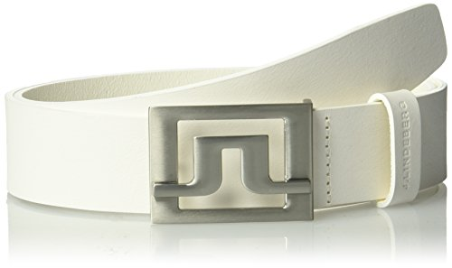 J.lindeberg Men's Slater 40 White Leather Belt, white, (Slater Leather)
