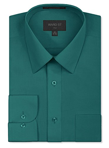 (Ward St Men's Regular Fit Dress Shirts, 3XL, 19-19.5N 36/37S, Teal)