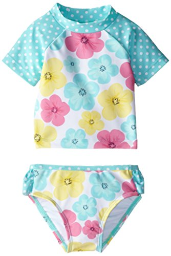 Little Me Baby-Girls Infant Multi 2 Piece Rashguard, Floral, 12 Months