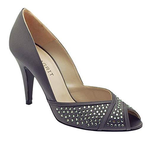 gris tacón mujer con Magrit Zapatos qRwTII